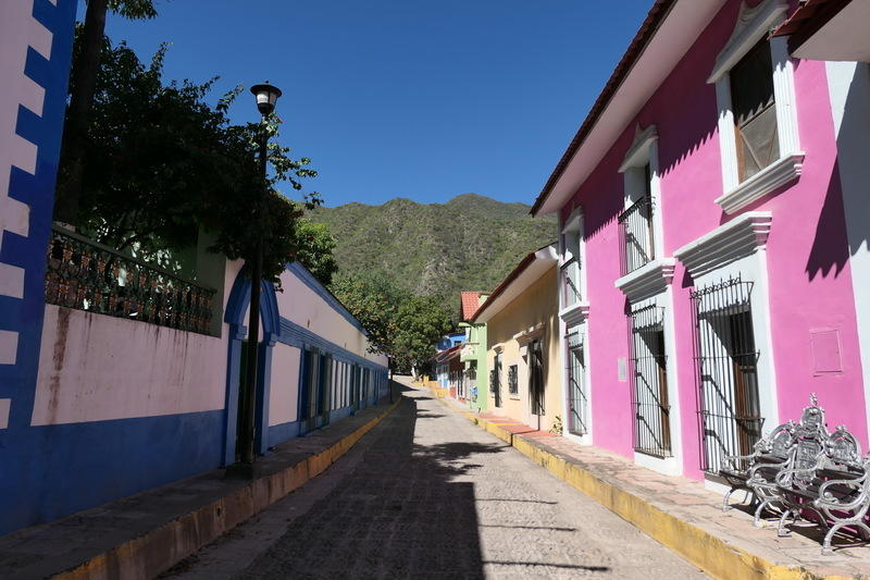 Colorful buildings in Batopilas