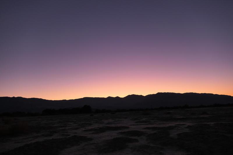 The sun sets in Furnace Creek
