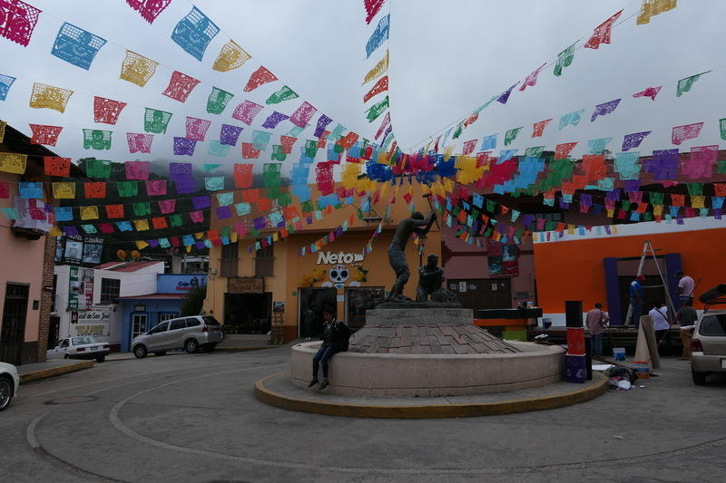 A decorated plaza in Pinal de Amoles